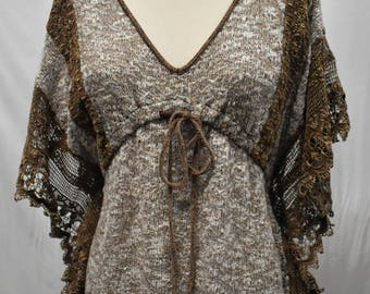 Lace Knit Poncho Top