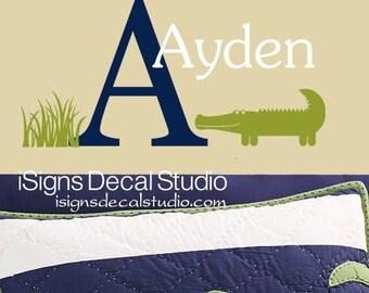 Alligator Wall Decal, Name Wall Decal, Baby Room Decor, Nursery Room Alligator Decal Sticker