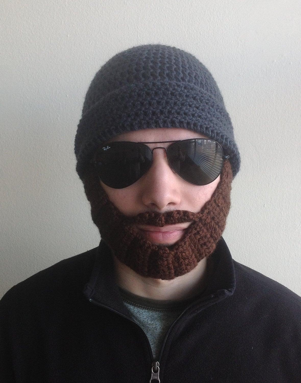 Handmade crochet PATTERN Detachable beard hat for adults hat