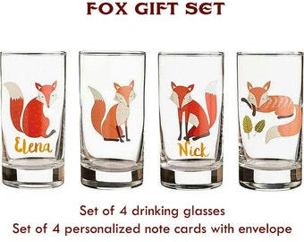 Fox Drinking Glasses with Personalized Note Cards - Set of 4