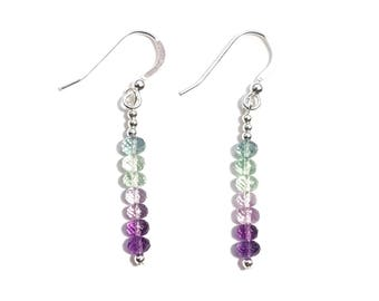 Fluorite and Sterling Silver Ombre Earrings