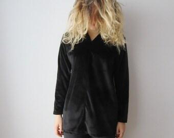 Vintage Black Velvet Sweater Long Sleeve V-Neck Velvet Shirt Women's Long Velvet Blouse Medium Sized Velvet Blouse Jurgen Michaelsen Shirt