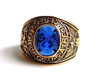 Vintage Gold Filled US Navy Air Force Signet Ring - Cobalt Blue Intaglio Anchor - US Air Force USN - Military War Memorabilia - Size 12 1/4