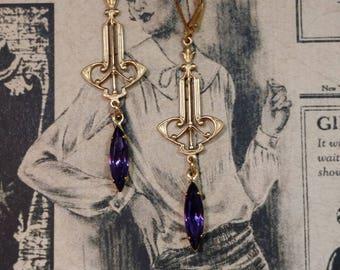 Purple Art Deco Earrings - Art Deco Jewelry - 1920s Deco Earrings - 1920s Jewelry - Flapper Girl Earrings - Miss Fisher - Womens Jewelry