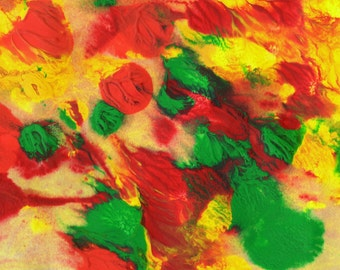 """Original Painting - 5"""" x 7"""" - Abstract - Green, Yellow, Orange and Red Acrylic Painting - 2014-108"""