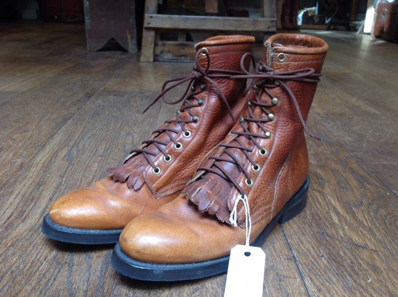 Vintage brown leather Texas packer kiltie lace up boots US 9.5 cowboy western
