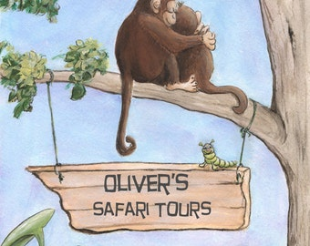 Personalized Boy Nursery Wall Art, Safari Jungle Baby Animal Prints, Boys Safari Nursery Bedroom Customized Picture For Kids, 6 Sizes Poster