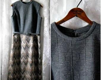 Ausverkauf!  Mit Gürtel grau Zick-Zack-Kleid-Jahrgang 1960