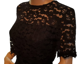 Womens black lace crop top in UK sizes 8 to 18