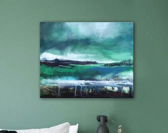 After the storm. Original painting, green, grey . Acrylic and inks on canvas. Size : 14,9 x 11,10 X 1 In. Cotton stretched canvas.