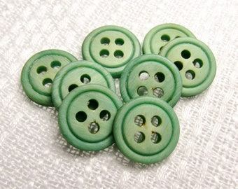 "Sping Fern: 1/2"" (13mm) Cream-Green Buttons - Set of 8 Vintage New Old Stock Buttons"