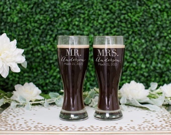 Personalized Beer Glass Set - (Set of TWO) Custom Engraved Hourglass Beer Pilsner - Personalized Wedding Gift - Couples Engagement Gift