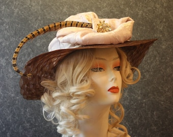 Brown Kentucky Derby Hat, Derby Hat, Garden Party Hat, Tea Party Hat, Easter Hat, Church Hat, Wedding Hat, Downton Abbey Brown Hat 602