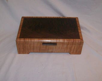 Keepsake Box or Desk Box Curly Birch Box Inlayed with Walnut   Handcrafted Keepsake  box