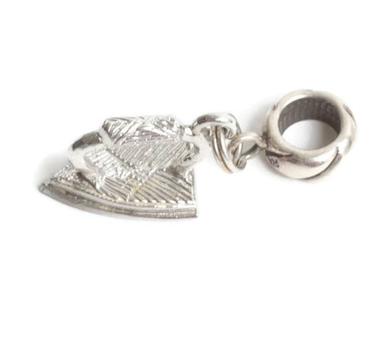 Sterling Iron Charm with European Style Adapter Bead for Charm Bracelet