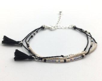 Bracelet black beige and silver