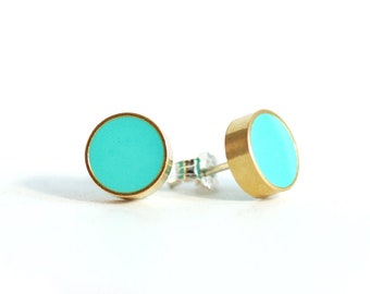 Brass Circle Studs with Turquoise Resin