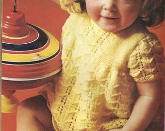 PDF Knitting Pattern, 4Ply, Short sleeved lacy knit dress