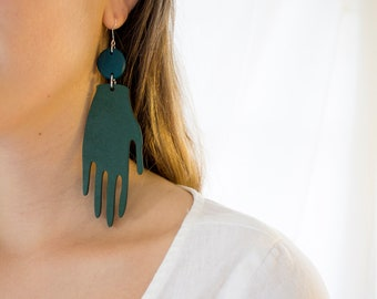 Forest Earrings in Deep Green