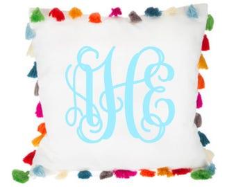 Monogram Tassel Pillow Cover. Pom Pom Monogram Pillow. Personalized Pillow. Embroidered Pillow. Tassel Pillow. Monogram Tassel Pillow