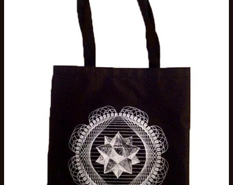 Tote Bag Tetrahedron Screen Print Black Sacred Geometry