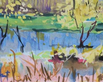 gouache painting , watercolor , landscape , Savannah Wildlife Refuge , Georgia , marsh , autumn, 8 x 10 , impressionistic , water painting
