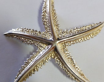 Starling Silver Starfish Vintage Brooch. Lapel Pin Brooch. Weight 8.73 Grams-Marked 925
