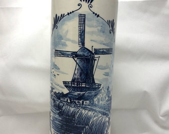 Windmill Delft Blue Bottle -- Vintage