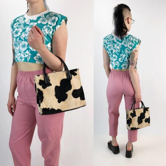 90's Fuzzy Cow Print Top Handle Purse - Animal Print Purse Wild Funky Fun Kawaii Grunge Acessory - Cow Pattern Bag VTG Furry Textured Purse