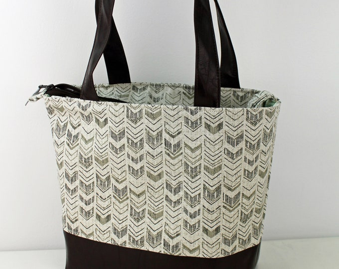 Lulu Large Tote Diaper Bag Arrow Linen with PU Chocolate Leather  - READY to SHIP with zipper