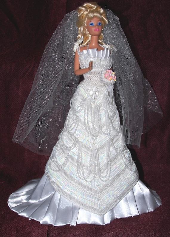 Barbie bride dress wedding gown with veil handstitched - Barbie mariee ...