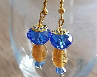 Fancy blue and gold earrings
