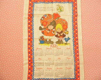 Vintage 1976 Calendar Dish Towel - Happiness Shared Is Happiness Doubled