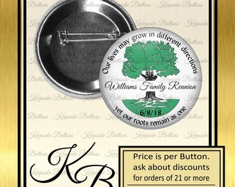 """Family Reunion Pins, 2.25"""" Family Reunion Buttons, Family Tree, Family Reunion Souvenir, Party Favors Magnets, Pins, Refrigerator Magnets"""