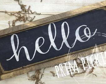 Framed hello sign // hello decor // framed sign