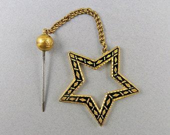 Victorian Antique Jabot Pin Black Enamel Jewelry Antique Jewellery Gilt Metal Victorian Jewelry Antiques Collectibles