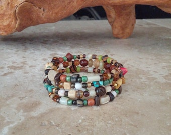 Memory Wire Bracelet, Earthy, Organic Look, Boho, All Natural Stones, Turquoise, Coral, Czech Indonesian Glass, Shell, Wood