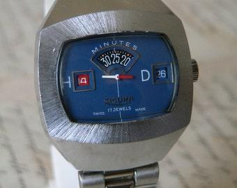 Swiss watch rare SICURA 17 jewels  digital jump Mens watch Swiss   Made  70's SERVICED