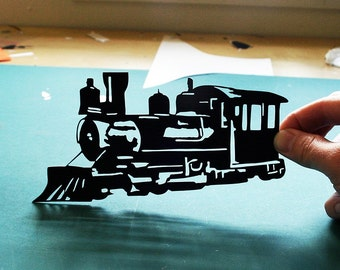 Train or Locomotive Hand-Cut Paper Silhouette- 8x10