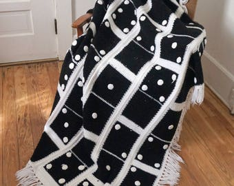 "Unusual Black and White Dominoes Crocheted Afghan 64"" x 46"""