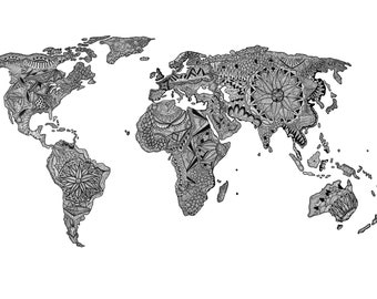 Zentangle world map etsy gumiabroncs Images