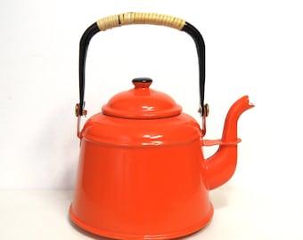 Retro Orange Enamel Tea Kettle/ Vintage Enamelware Teapot/ Wrapped Handle