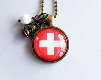 Flag of Switzerland Necklace - Swiss Flag - White Cross - Patriotic Pendant - Custom Jewelry - Travel Necklace - Red And White Flag Jewelry