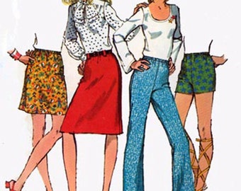 Vintage 1970s Retro JIFFY Mini Skirt and Pants and Short Shorts Sewing Pattern Simplicity 9926 70s Sewing Pattern Size 14 Hip 38