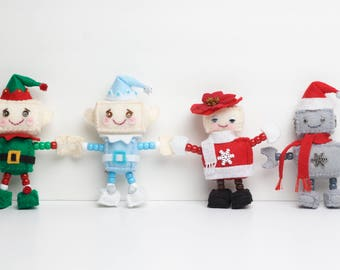 Cute Plush Felt Robot Christmas Ornaments