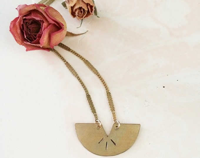 Arc of Thrace, Handcut Raw brass necklace, shield necklace