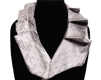 Silver Silk Collar Scarf