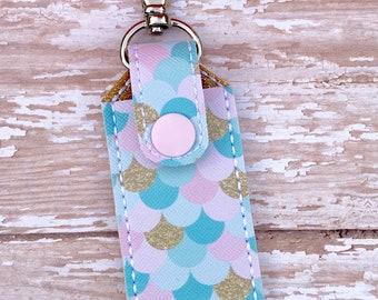 Mermaid Scales Lip Balm Holder, Mermaid Scales Lip Balm Keychain, Lip Balm Cozy, Chapstick Holder--- Mermaid Scales