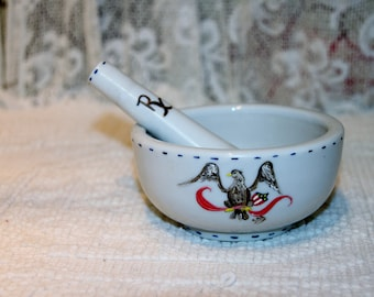 Vintage Hand Painted Eagle on Marble  Mortar and Pestle