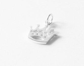 Sterling Silver Crown Charm, Princess Charm, Silver Princess Charm,
